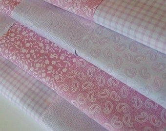 """Baby  Pink Fabric 4"""" Patchwork Squares - 100% Cotton"""
