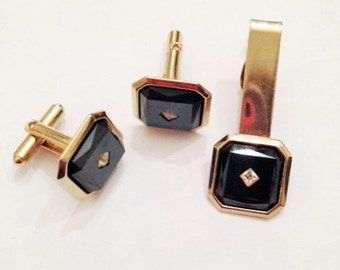 Classic Mens Cuff Link and Tie Clip Set
