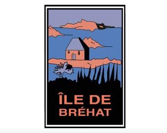 """""""Ile de Bréhat"""" poster 50x70cm - decorative displays, vintage, retro poster"""