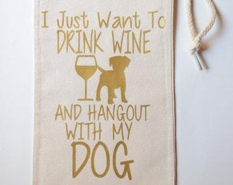 Cotton Winebag, Canvas Winebag, Dog Lover Winebag, Drawstring Wine Sack, Dog Lover Gift, Wine Lover Gift, Housewarming Gift, Birthday Gift