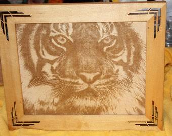 Etched Tiger on Natural wood
