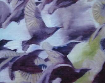 Birds, Modern Art, Contemporary Art,Wall Decor,Wall Canvas,Home Decor,Original Art