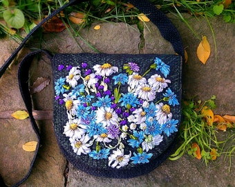"Embroidered with satin ribbons woman shoulder bag ""Camomiles and cornflowers"""