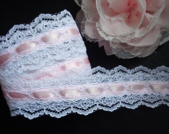 Double Sided Beaded Lace, 1+1/2 inch wide white/pink 2 yard and 16 inch cut