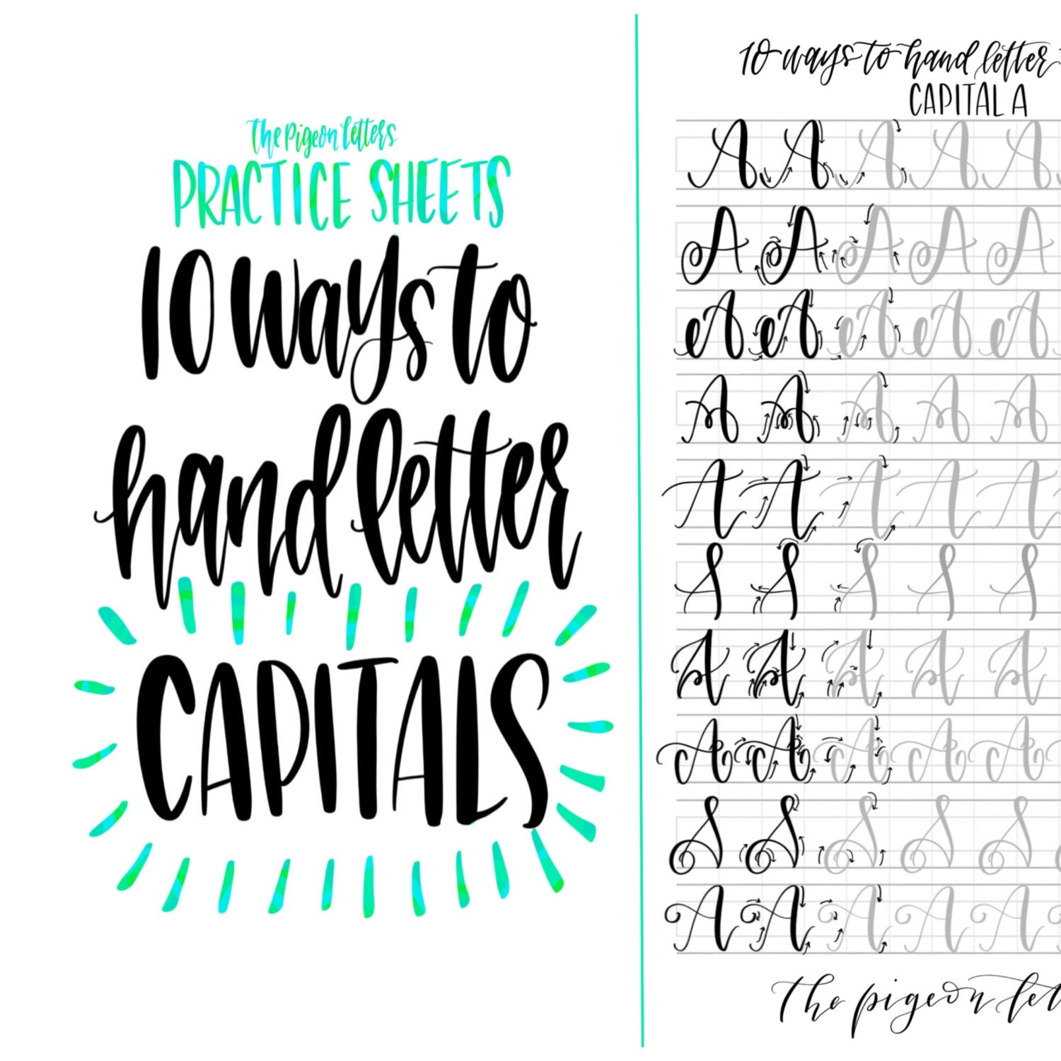Hand lettering practice sheets ways to letter