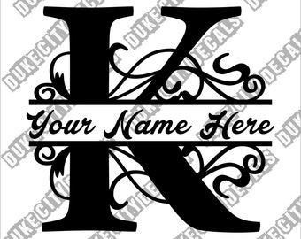 Letter K Floral Initial Monogram Family Name Vinyl Decal Sticker - Personalized Floral Name Decal