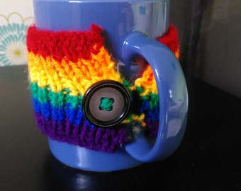 Rainbow Gay Pride Knitted Mug Cosy