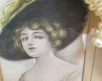 Portrait of a Woman, 1940's Handpainted Portrait of a Woman - 50% Off Sale