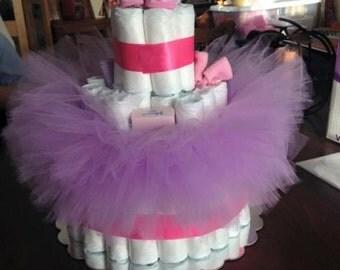 Purple and Pink Ballerina Diaper Cake