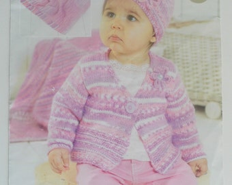 Knitting Pattern Baby Cardigan,Hat and Blanket.0 -7 years.