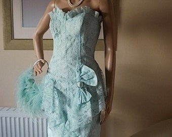 New York Label Turquoise Dress Size UK 8, Ladies Clothing Dress, Diamante Strapless Dress Stepping Out Label, American Lacy Vintage Dress.