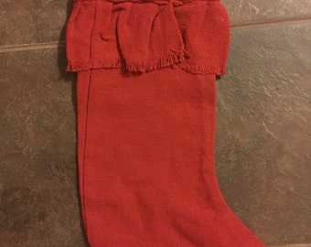 Large Burlap Stocking  comes in Red or Tan