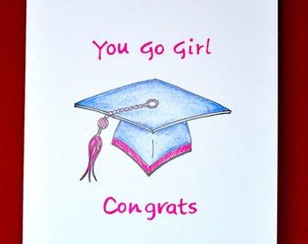 Graduation - Girl -  Hand made greeting card