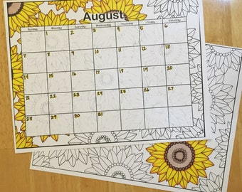 Coloring Page Printable Digital Download August Calendar Sunflowers