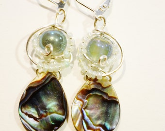 abalone and silver wire earrings
