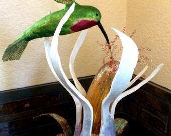 Hummingbird, a gourd sculpture