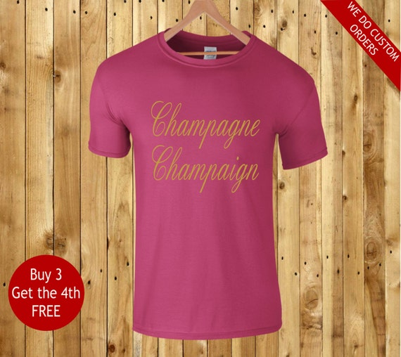 Champagne Champaign T Shirt Hot Pink Fuschia Unisex By
