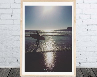 Photo Print Surfer Girl - Photo Poster Portugal - different sizes - multicolor- download files for printing