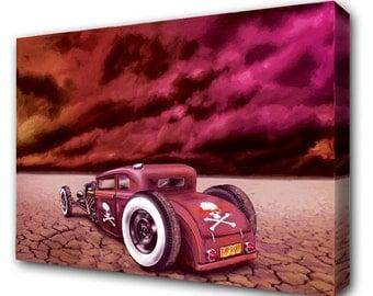 "Hot Rod Car Oil Painting Print on Canvas 32"" x 24"" (01A)"