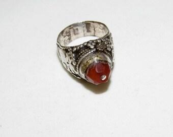 Yemenite silver carnelian ring