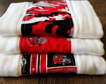 Premium diaper burp cloths, set of 3, University of Georgia