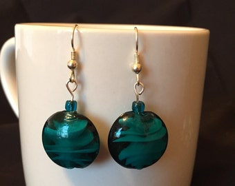 Teal glass earrings