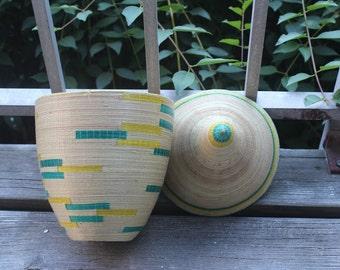 Beautiful Green and Yellow Lidded Rwandan Peace Basket