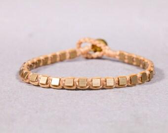 Beaded Bracelet-Peach Gold Studs Bracelet - B92