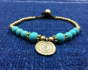 Turquoise beads bracelet, gold coin charm bracelet B-20