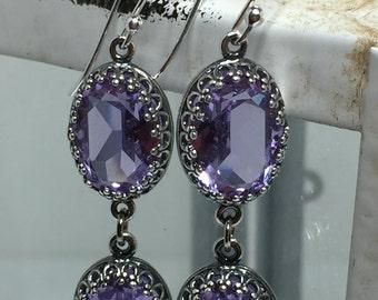 Light Violet Swarovski Crystal Drop Earrings