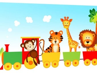 "Children's Jungle Animal Train - Canvas Art Print Picture - 36"" x 20"" (92cm x 52cm) - Framed and Ready to Hang by Rubybloom Designs"