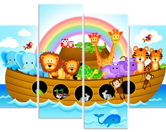 Childrens Noah's Ark - Nursery Jungle Animals - 4 Panel Canvas Art Print Picture - Overall Size 104cm x 69cm - by Rubybloom Designs