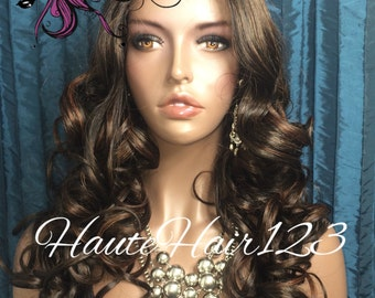 Brown Highlights Human Hair Blend Hollywood Curls Realistic Lace Front Wig