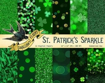 Green Bokehs & Glitter St. Patricks Day Digital Paper Pack - Instant Download Commerical Use - Four Leaf Clover Shamrock Background Textures