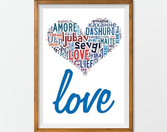 Love printable Print Art Poster - Love Wall Art, Love letters, Love written in all languages of the world