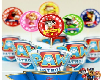 12 Paw Patrol wrappers and toppers.