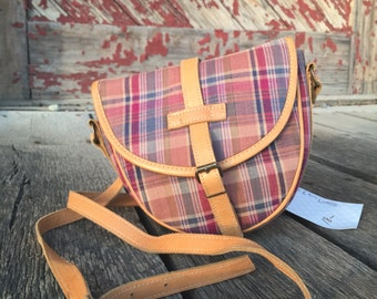 1990s vintage Talbots cotton plaid and leather crossbody bag