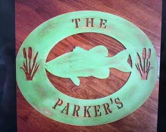 Personalized wood door fish sign