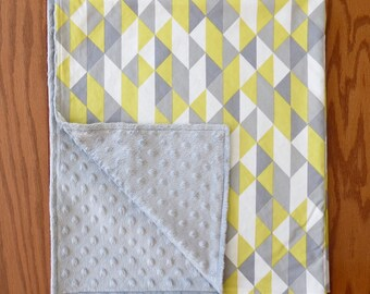 Grey and Yellow Minky Baby Blanket