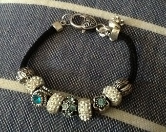 Beads bracelet strass beads black cotton bracelet