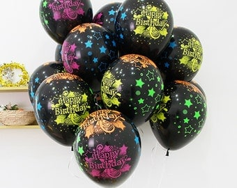 10X Black Latex Balloons Neon colors Stars Printed Happy Birthday Party Decorations B-day Supplies