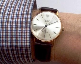 Vintage soviet watch, gen's watch,  Poljot de Luxe  - USSR Men's Watch Poljot - 1960-70's, leather watch, ussr mens watch, mechanical watch