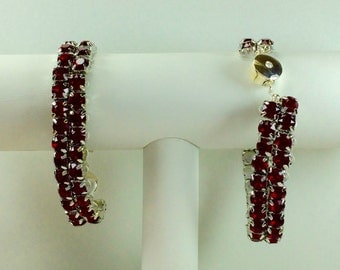 Dark Red Glitterati Bracelet - Swarovski Crystals, Magnetic Clasp, Silver
