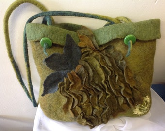 Felt bag, tote bag, shades of green