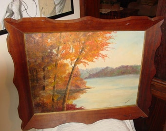 Beautiful Old Painting on Board Lake Scene Framed
