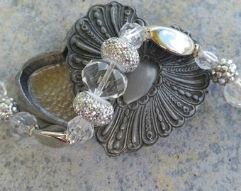 Stunning Bridal or formal bracelet. Full of bling and elegance
