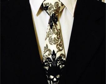 Skull Necktie, Skull Tie, White Skull Necktie, White Skull Tie, Black Skull Necktie, Black Skull Tie, Mens Necktie, Mens Tie, Father, Gift