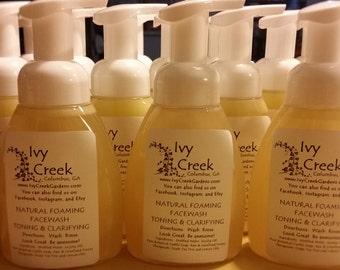 Natural Foaming Toning & Clarifying Face Wash, Honey Face Wash, Tea Tree, Lemon, Bergamot, Natural Face Wash, Holistic Face Wash