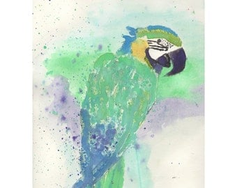 Green Parrot, Art Print, Watercolor painting