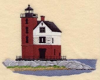 Round Island Lighthouse Embroidered  on a Flour Sack Towel Hand Towel Dish Towel